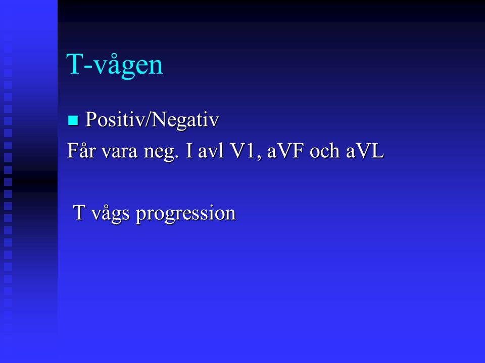 T-vågen Positiv/Negativ Positiv/Negativ Får vara neg. I avl V1, aVF och aVL T vågs progression T vågs progression