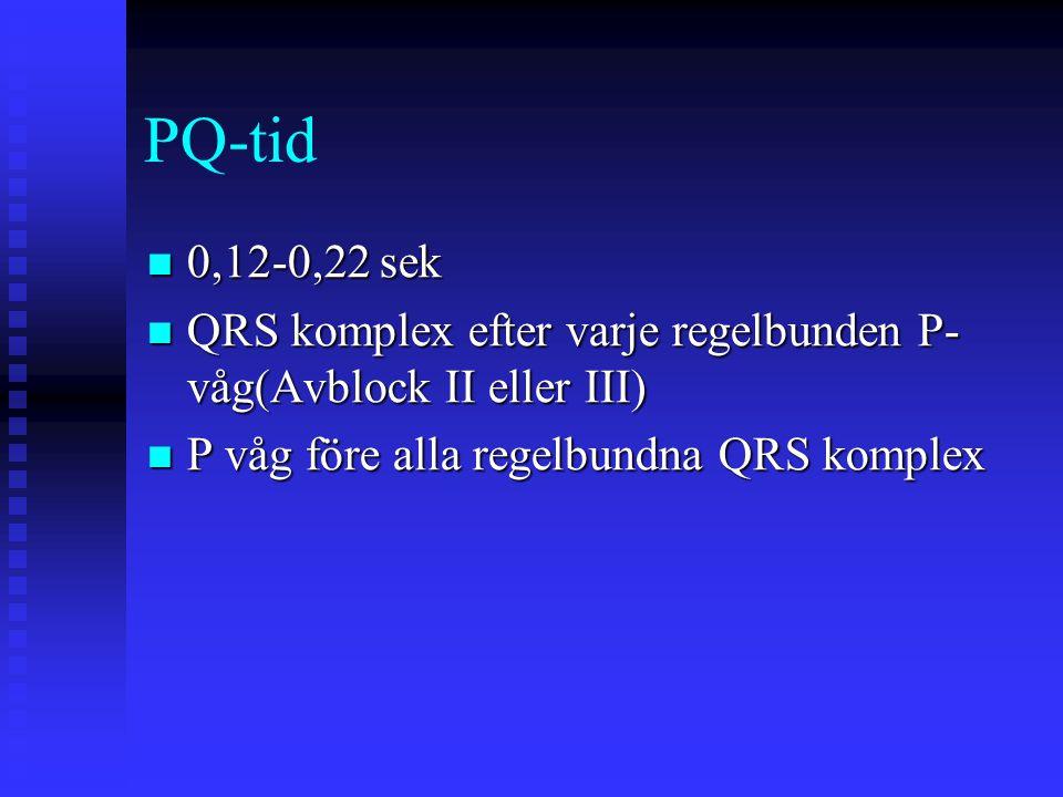 PQ-tid 0,12-0,22 sek 0,12-0,22 sek QRS komplex efter varje regelbunden P- våg(Avblock II eller III) QRS komplex efter varje regelbunden P- våg(Avblock