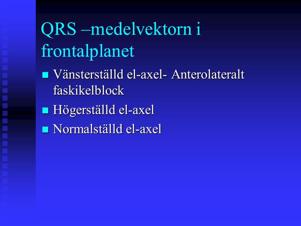 QRS –medelvektorn i frontalplanet Vänsterställd el-axel- Anterolateralt faskikelblock Vänsterställd el-axel- Anterolateralt faskikelblock Högerställd