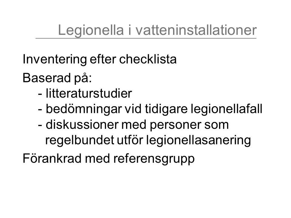 Inventering efter checklista Baserad på: - litteraturstudier - bedömningar vid tidigare legionellafall - diskussioner med personer som regelbundet utf