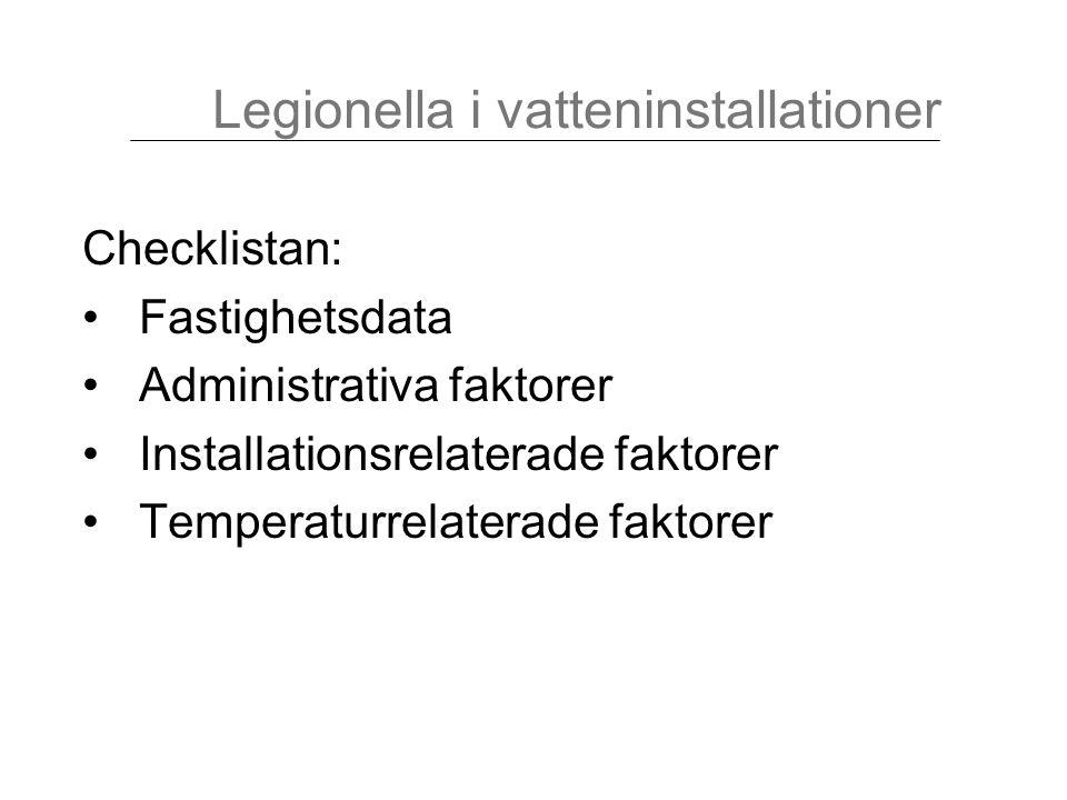 Ledningar med stillastående vatten eller sällan använda tappställen Legionella i vatteninstallationer 55°C20°C