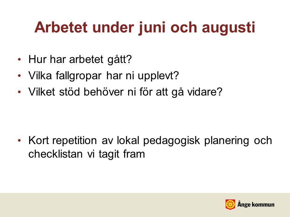 Arbetet under juni och augusti Hur har arbetet gått? Vilka fallgropar har ni upplevt? Vilket stöd behöver ni för att gå vidare? Kort repetition av lok