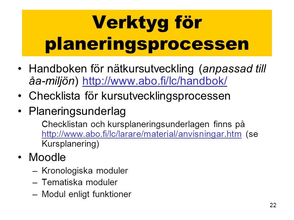 22 Verktyg för planeringsprocessen Handboken för nätkursutveckling (anpassad till åa-miljön) http://www.abo.fi/lc/handbok/http://www.abo.fi/lc/handbok/ Checklista för kursutvecklingsprocessen Planeringsunderlag Checklistan och kursplaneringsunderlagen finns på http://www.abo.fi/lc/larare/material/anvisningar.htm (se Kursplanering) http://www.abo.fi/lc/larare/material/anvisningar.htm Moodle –Kronologiska moduler –Tematiska moduler –Modul enligt funktioner