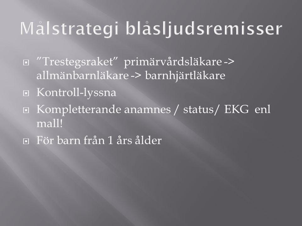  Trestegsraket primärvårdsläkare -> allmänbarnläkare -> barnhjärtläkare  Kontroll-lyssna  Kompletterande anamnes / status/ EKG enl mall.