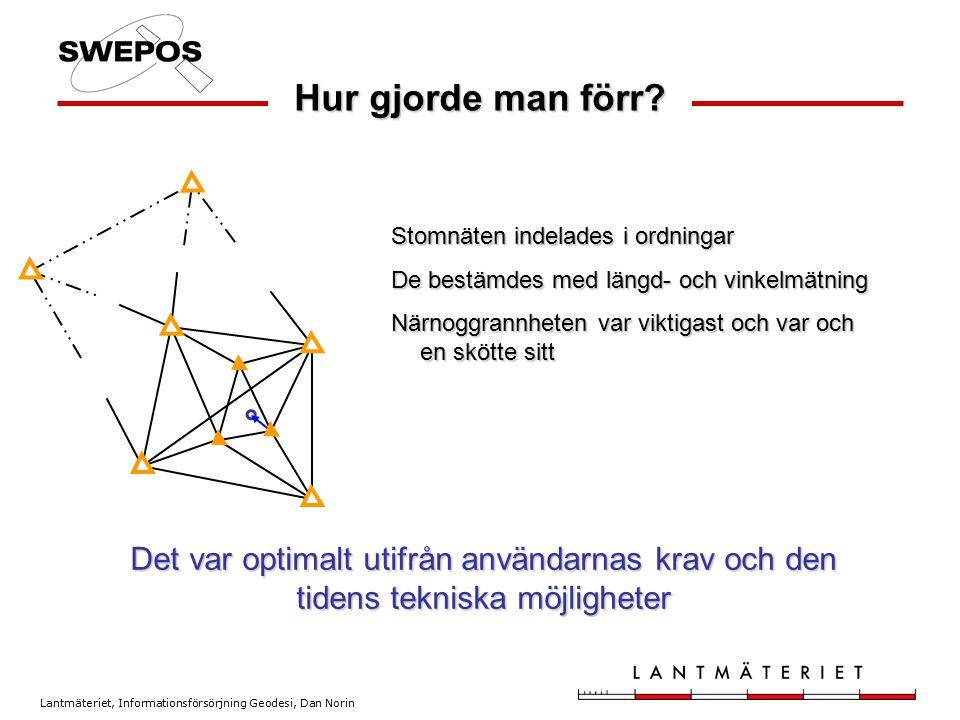 Lantmäteriet, Informationsförsörjning Geodesi, Dan Norin Hur gjorde man förr? Stomnäten indelades i ordningar De bestämdes med längd- och vinkelmätnin