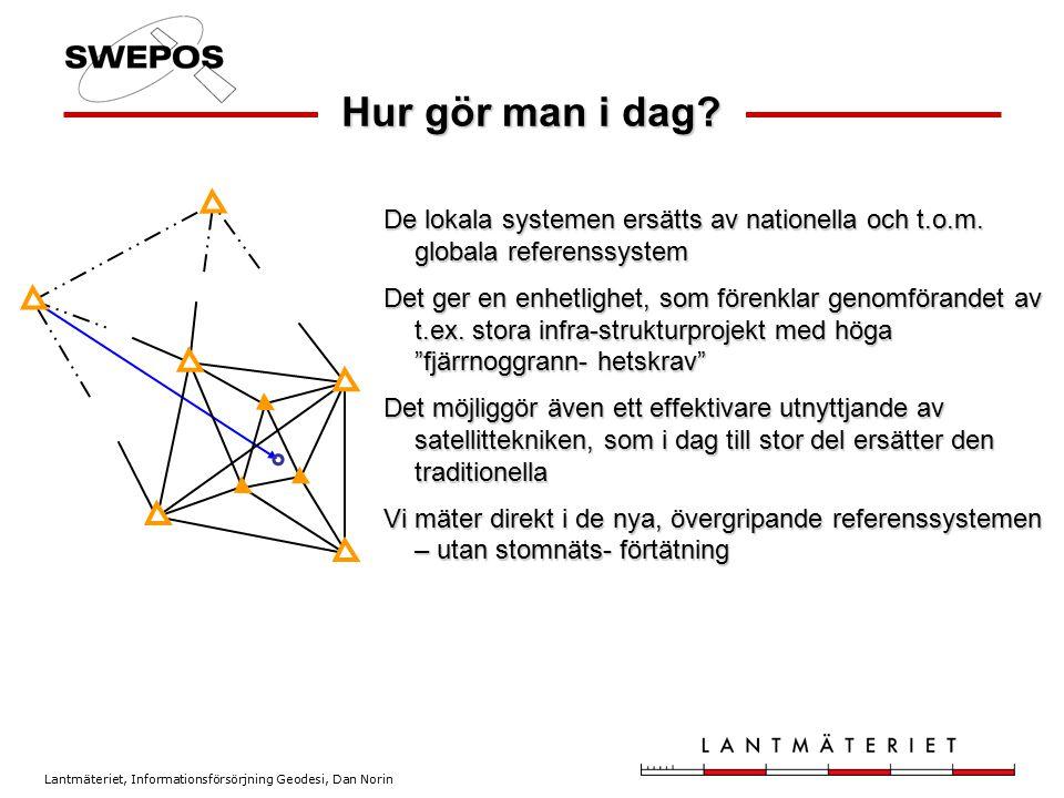Lantmäteriet, Informationsförsörjning Geodesi, Dan Norin Hur gör man i dag? De lokala systemen ersätts av nationella och t.o.m. globala referenssystem