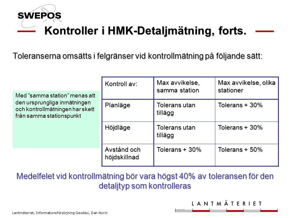 Lantmäteriet, Informationsförsörjning Geodesi, Dan Norin Kontroller i HMK-Detaljmätning, forts. Toleranserna omsätts i felgränser vid kontrollmätning