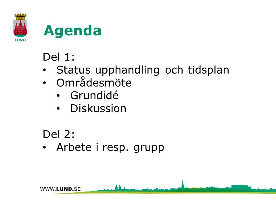 Agenda Del 1: Status upphandling och tidsplan Områdesmöte Grundidé Diskussion Del 2: Arbete i resp.