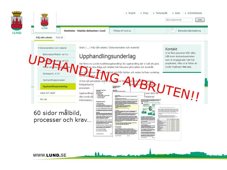 60 sidor målbild, processer och krav… UPPHANDLING AVBRUTEN!!