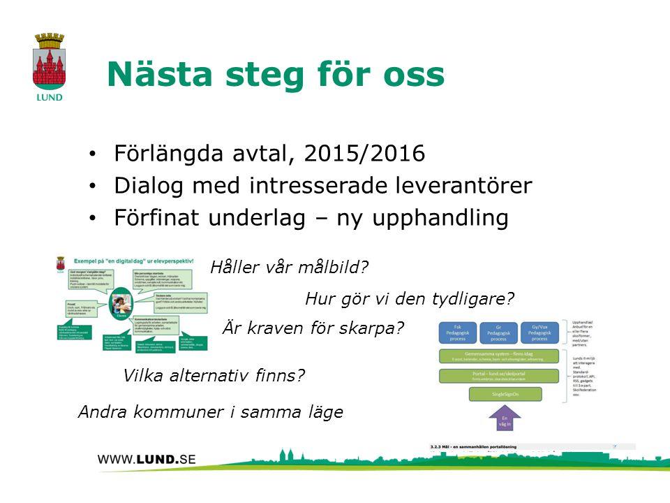 Nästa steg för oss Förlängda avtal, 2015/2016 Dialog med intresserade leverantörer Förfinat underlag – ny upphandling Håller vår målbild? Vilka altern