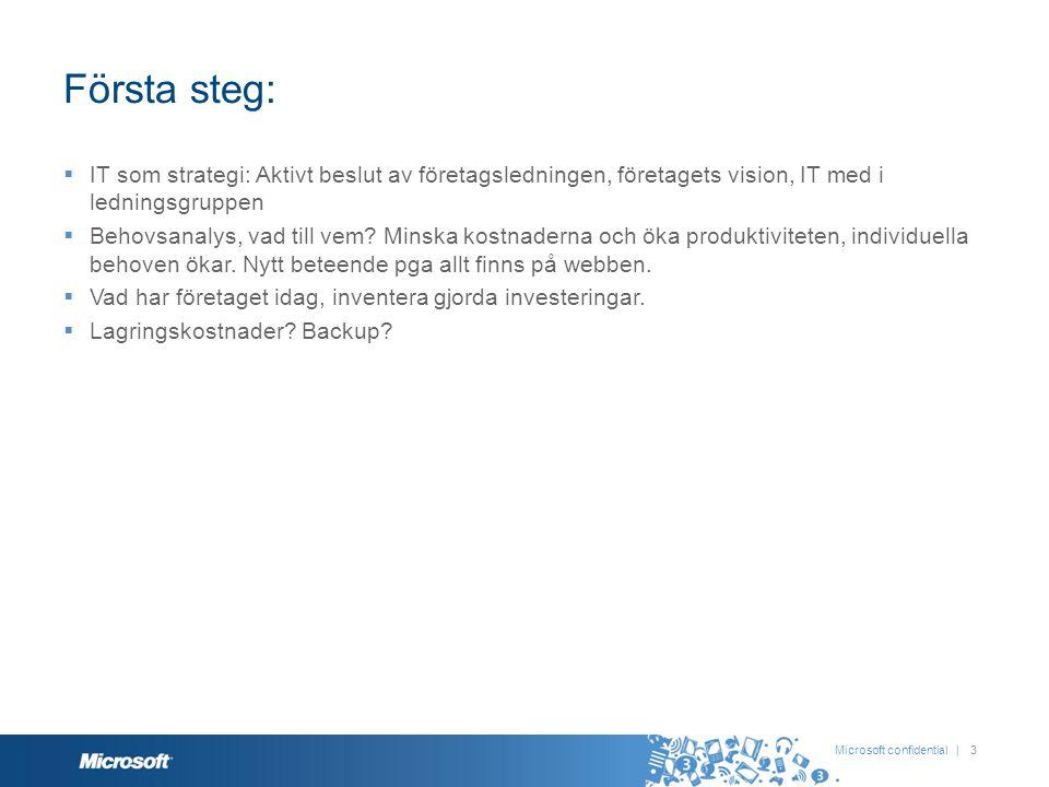 Första steg:  IT som strategi: Aktivt beslut av företagsledningen, företagets vision, IT med i ledningsgruppen  Behovsanalys, vad till vem? Minska k
