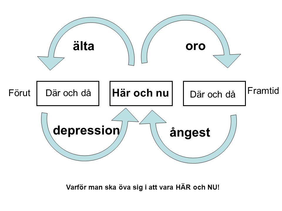 Här och nu Där och då Förut Framtid oro ångest älta depression Varför man ska öva sig i att vara HÄR och NU!
