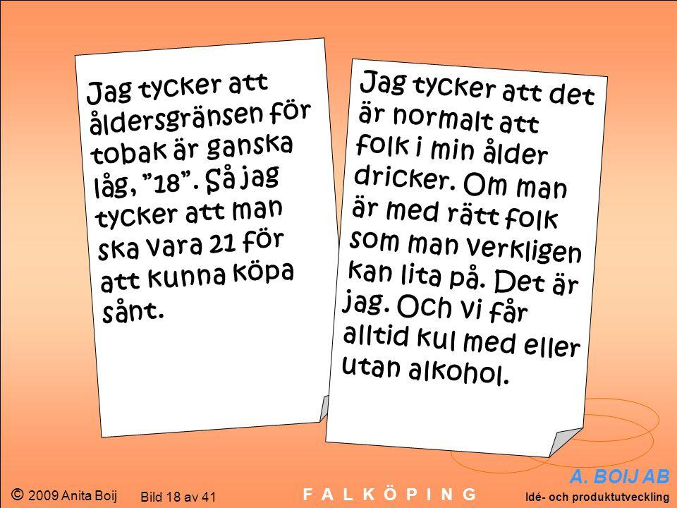 """A. BOIJ AB Idé- och produktutveckling © 2009 Anita Boij Bild 18 av 41 F A L K Ö P I N G Jag tycker att åldersgränsen för tobak är ganska låg, """"18"""". Så"""