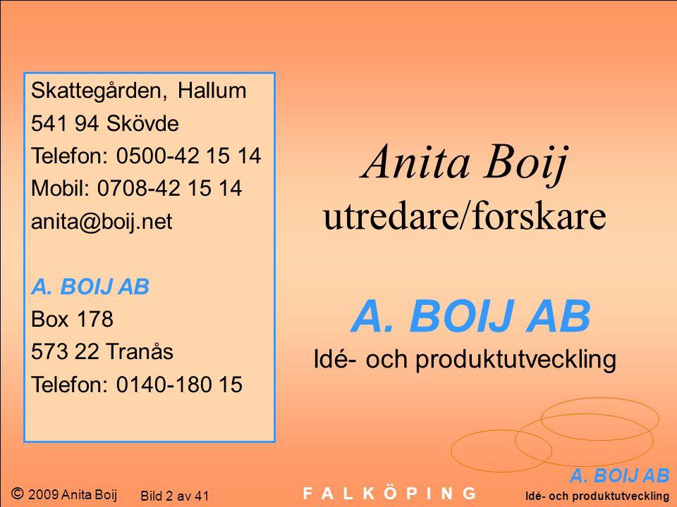 A. BOIJ AB Idé- och produktutveckling © 2009 Anita Boij Bild 2 av 41 F A L K Ö P I N G Anita Boij utredare/forskare A. BOIJ AB Idé- och produktutveckl