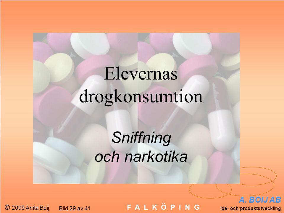 A. BOIJ AB Idé- och produktutveckling © 2009 Anita Boij Bild 29 av 41 F A L K Ö P I N G Elevernas drogkonsumtion Sniffning och narkotika