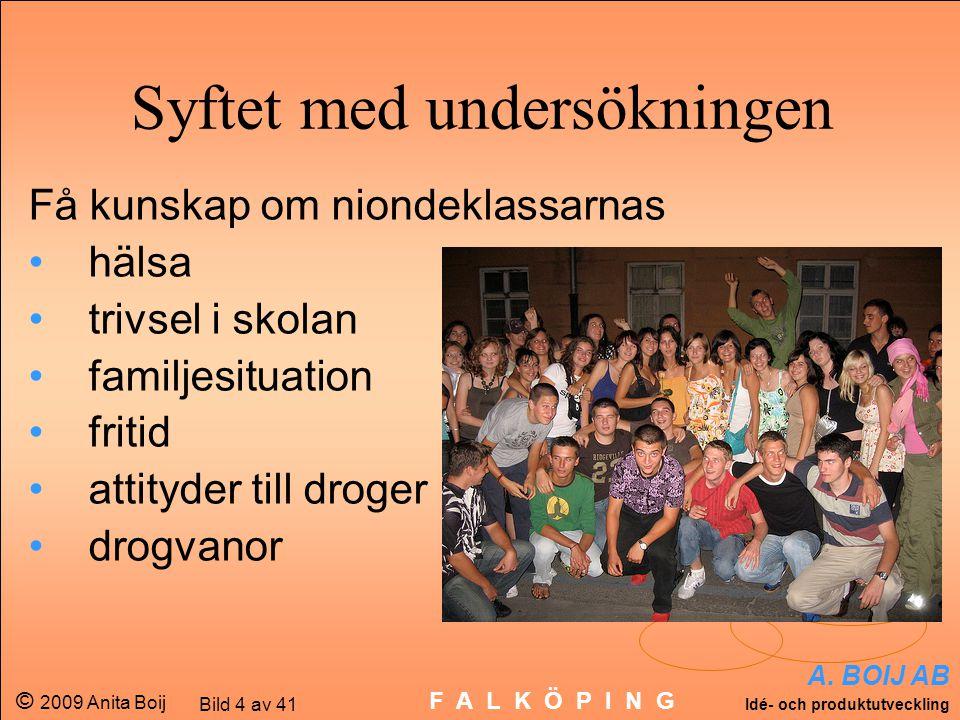 A. BOIJ AB Idé- och produktutveckling © 2009 Anita Boij Bild 4 av 41 F A L K Ö P I N G Få kunskap om niondeklassarnas hälsa trivsel i skolan familjesi
