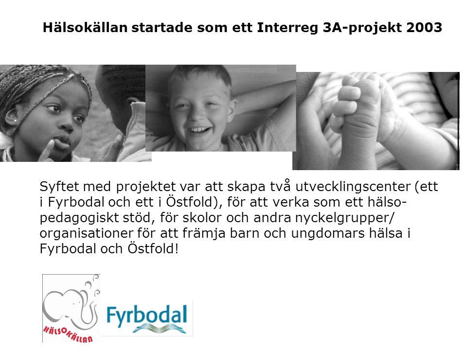 Hälsokällan startade som ett Interreg 3A-projekt 2003 Syftet med projektet var att skapa två utvecklingscenter (ett i Fyrbodal och ett i Östfold), för att verka som ett hälso- pedagogiskt stöd, för skolor och andra nyckelgrupper/ organisationer för att främja barn och ungdomars hälsa i Fyrbodal och Östfold!
