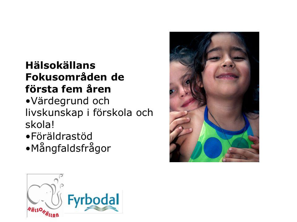 Hälsokällans Fokusområden de första fem åren Värdegrund och livskunskap i förskola och skola! Föräldrastöd Mångfaldsfrågor