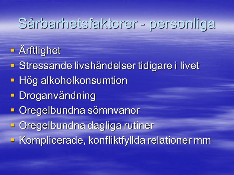 Sårbarhetsfaktorer - personliga  Ärftlighet  Stressande livshändelser tidigare i livet  Hög alkoholkonsumtion  Droganvändning  Oregelbundna sömnv