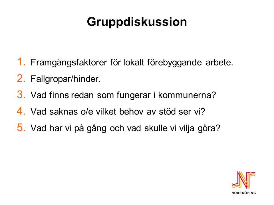 Gruppdiskussion 1. Framgångsfaktorer för lokalt förebyggande arbete.