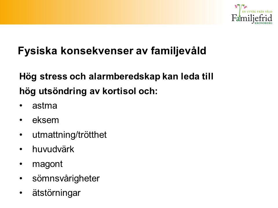 Fysiska konsekvenser av familjevåld Hög stress och alarmberedskap kan leda till hög utsöndring av kortisol och: astma eksem utmattning/trötthet huvudv
