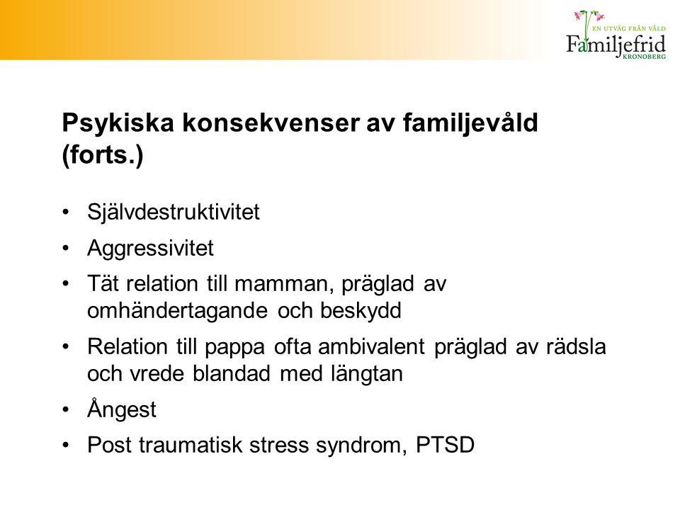 Psykiska konsekvenser av familjevåld (forts.) Självdestruktivitet Aggressivitet Tät relation till mamman, präglad av omhändertagande och beskydd Relat