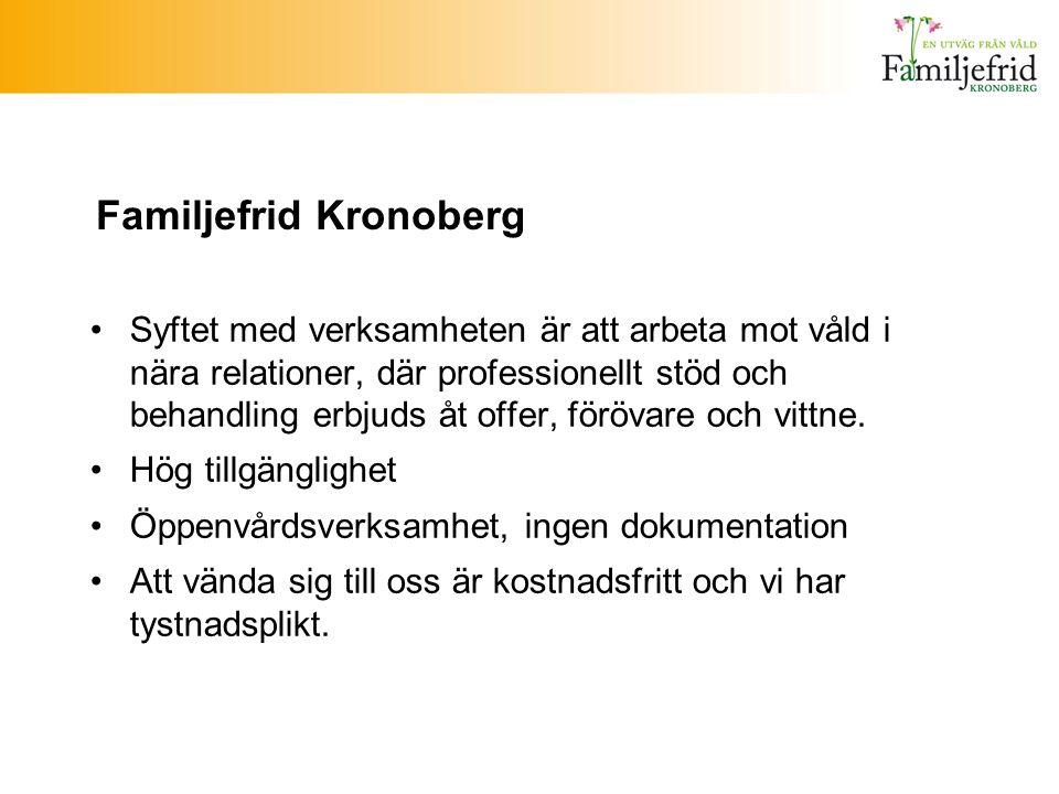 Familjefrid Kronoberg Syftet med verksamheten är att arbeta mot våld i nära relationer, där professionellt stöd och behandling erbjuds åt offer, föröv
