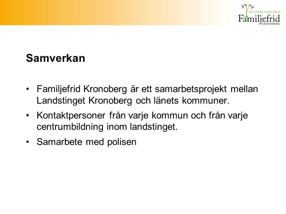 Samverkan Familjefrid Kronoberg är ett samarbetsprojekt mellan Landstinget Kronoberg och länets kommuner. Kontaktpersoner från varje kommun och från v