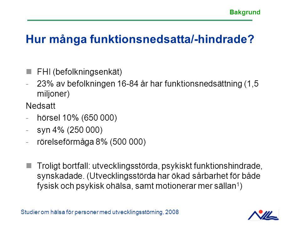 Hur många funktionsnedsatta/-hindrade? FHI (befolkningsenkät) -23% av befolkningen 16-84 år har funktionsnedsättning (1,5 miljoner) Nedsatt -hörsel 10