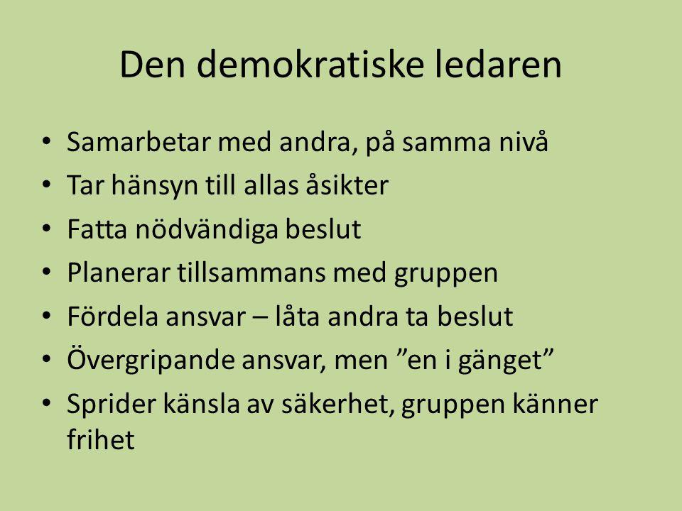 Den demokratiske ledaren Samarbetar med andra, på samma nivå Tar hänsyn till allas åsikter Fatta nödvändiga beslut Planerar tillsammans med gruppen Fö