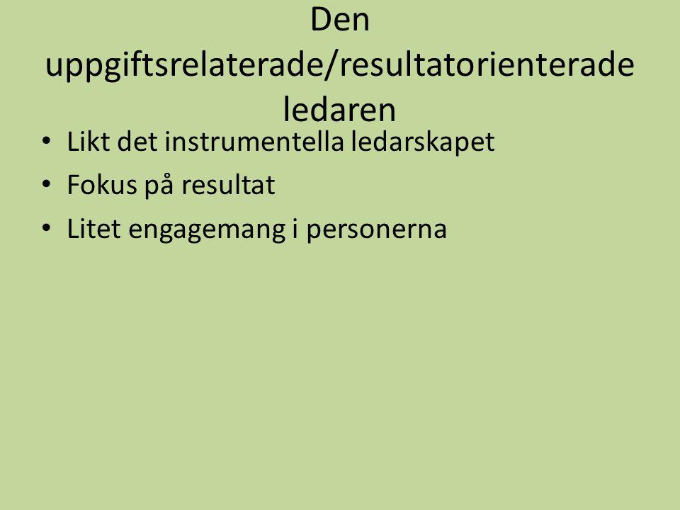 Den uppgiftsrelaterade/resultatorienterade ledaren Likt det instrumentella ledarskapet Fokus på resultat Litet engagemang i personerna