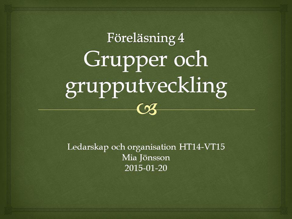 Ledarskap och organisation HT14-VT15 Mia Jönsson 2015-01-20