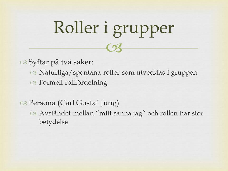   Syftar på två saker:  Naturliga/spontana roller som utvecklas i gruppen  Formell rollfördelning  Persona (Carl Gustaf Jung)  Avståndet mellan mitt sanna jag och rollen har stor betydelse Roller i grupper