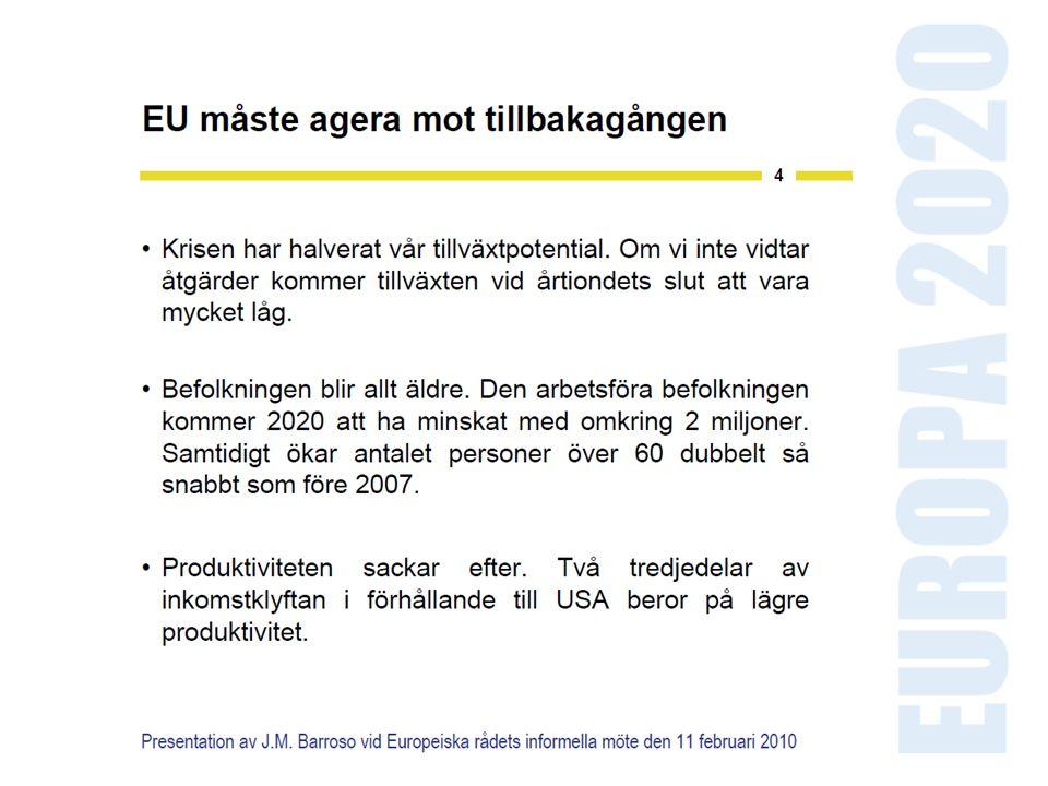 EUROPA 2020 SMART TILLVÄXT INNOVATIONS- UNIONEN DIGITALA AGENDAN UNGA PÅ VÄG HÅLLBAR TILLVÄXT ETT REURSEFFEKTIVT EUROPA INDUSTRIPOLITIK FÖR EN GLOBALISERAD TID TILLVÄXT FÖR ALLA EN AGENDA FÖR NY KOMPETENS OCH NYA ARBETSTILLFÄLLEN EUROPEISK PLATTFORM MOT FATTIGDOM Ny strategi med flera kvantitativa mål blir styrande