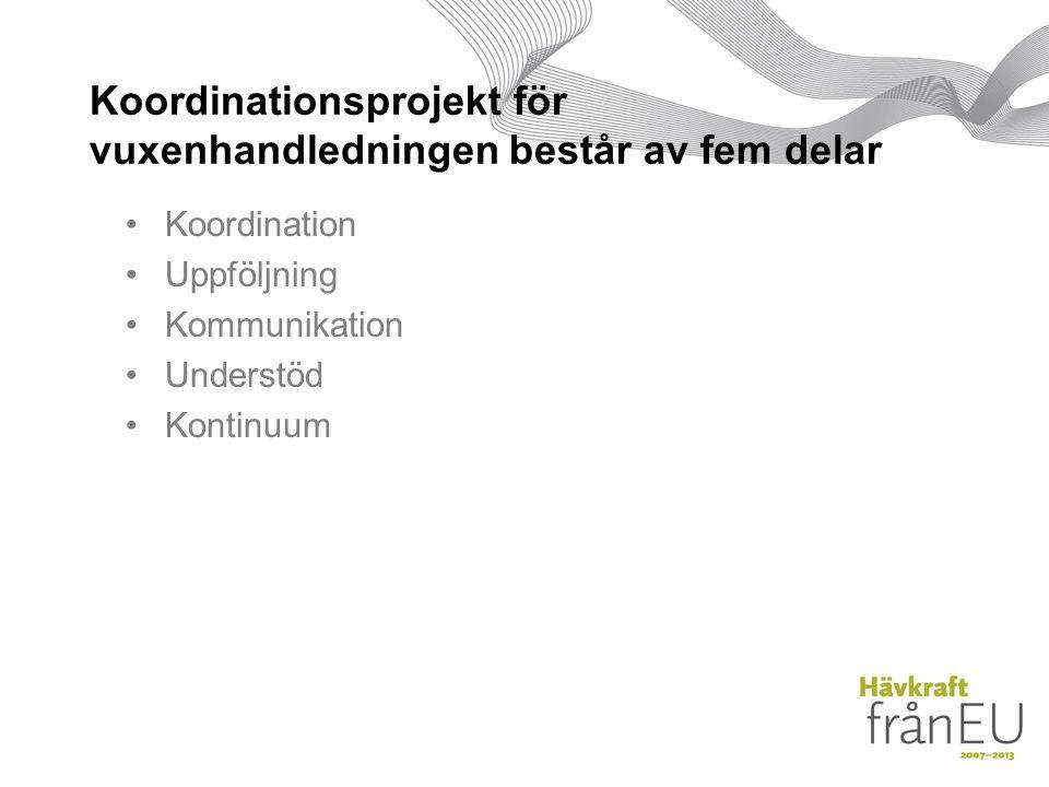 Koordinationsprojekt för vuxenhandledningen består av fem delar Koordination Uppföljning Kommunikation Understöd Kontinuum