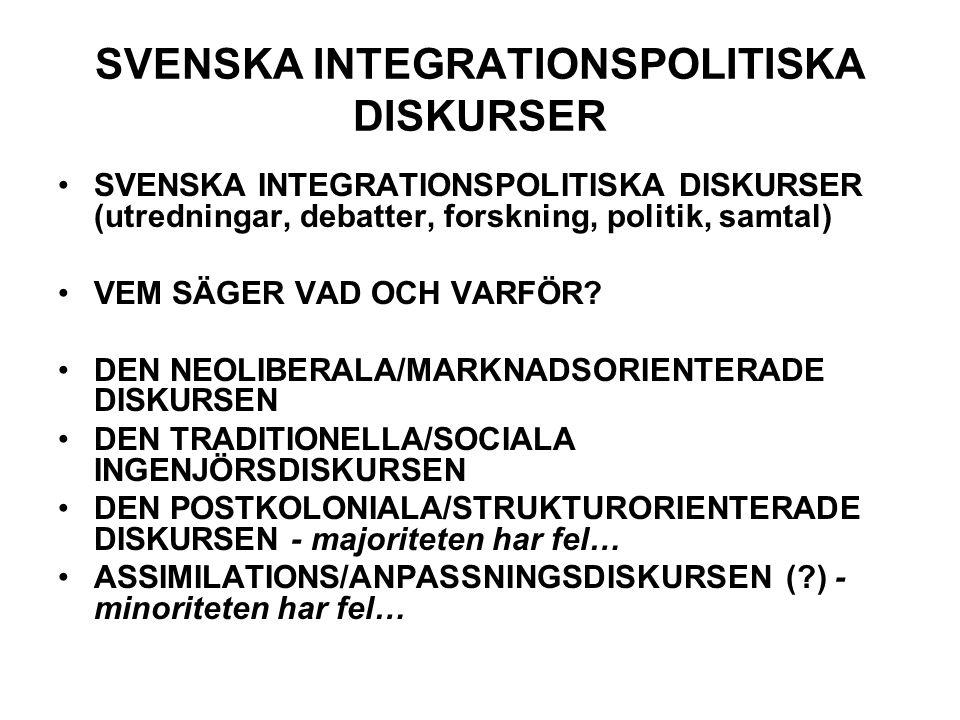 SVENSKA INTEGRATIONSPOLITISKA DISKURSER SVENSKA INTEGRATIONSPOLITISKA DISKURSER (utredningar, debatter, forskning, politik, samtal) VEM SÄGER VAD OCH VARFÖR.