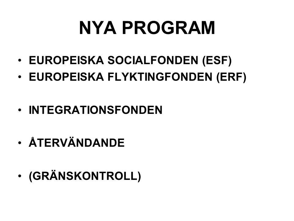 NYA PROGRAM EUROPEISKA SOCIALFONDEN (ESF) EUROPEISKA FLYKTINGFONDEN (ERF) INTEGRATIONSFONDEN ÅTERVÄNDANDE (GRÄNSKONTROLL)