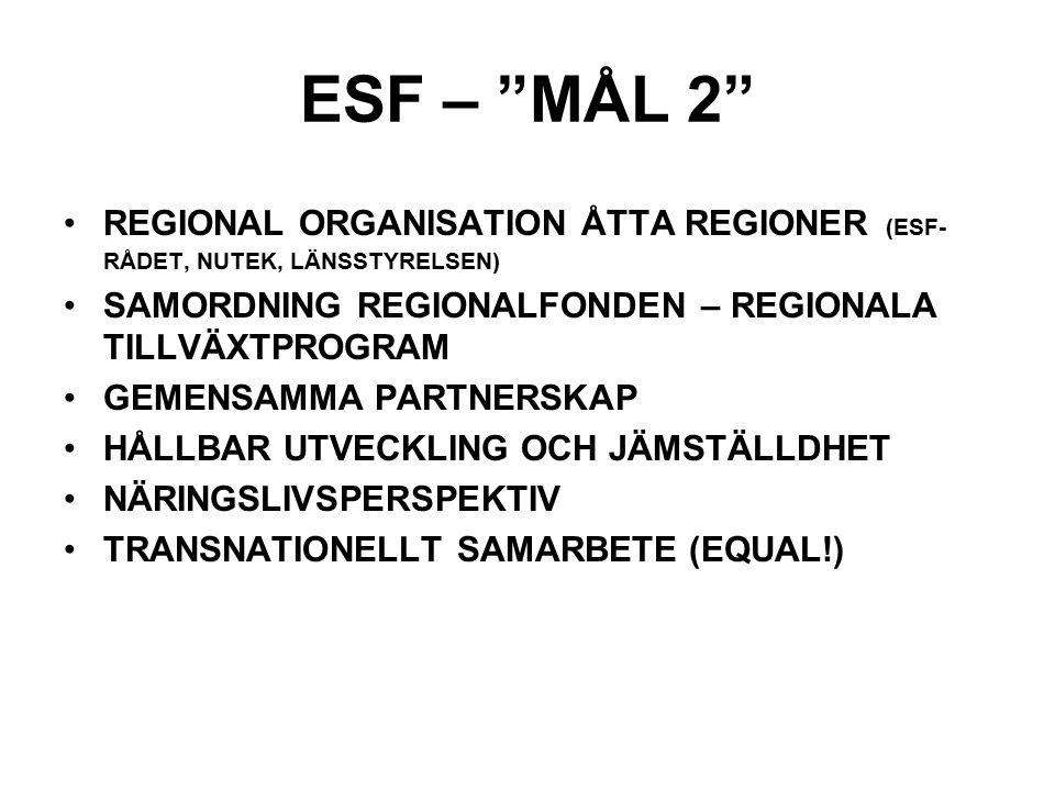 ESF – MÅL 2 REGIONAL ORGANISATION ÅTTA REGIONER (ESF- RÅDET, NUTEK, LÄNSSTYRELSEN) SAMORDNING REGIONALFONDEN – REGIONALA TILLVÄXTPROGRAM GEMENSAMMA PARTNERSKAP HÅLLBAR UTVECKLING OCH JÄMSTÄLLDHET NÄRINGSLIVSPERSPEKTIV TRANSNATIONELLT SAMARBETE (EQUAL!)
