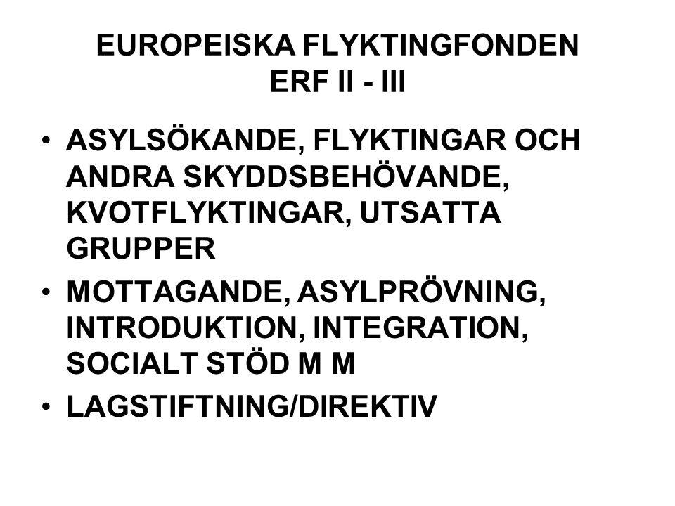 EUROPEISKA FLYKTINGFONDEN ERF II - III ASYLSÖKANDE, FLYKTINGAR OCH ANDRA SKYDDSBEHÖVANDE, KVOTFLYKTINGAR, UTSATTA GRUPPER MOTTAGANDE, ASYLPRÖVNING, INTRODUKTION, INTEGRATION, SOCIALT STÖD M M LAGSTIFTNING/DIREKTIV