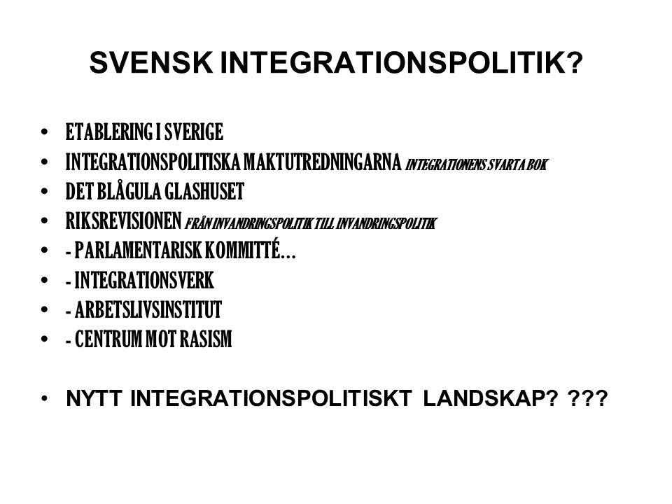 SVENSK INTEGRATIONSPOLITIK.