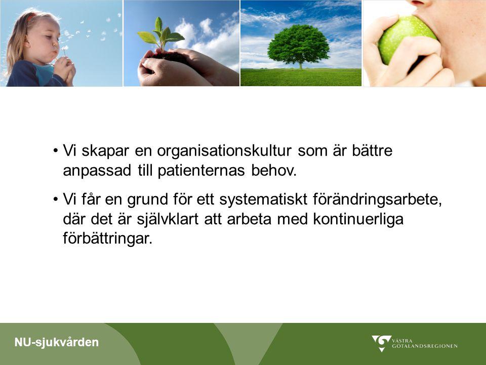 NU-sjukvården Vi skapar en organisationskultur som är bättre anpassad till patienternas behov.