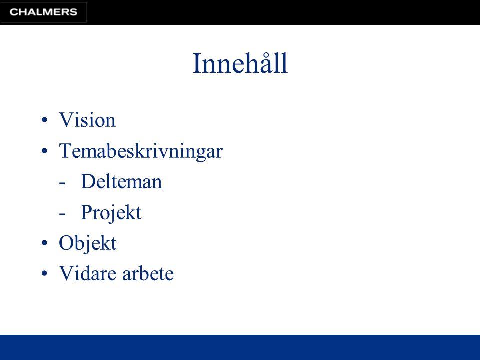 Innehåll Vision Temabeskrivningar -Delteman -Projekt Objekt Vidare arbete