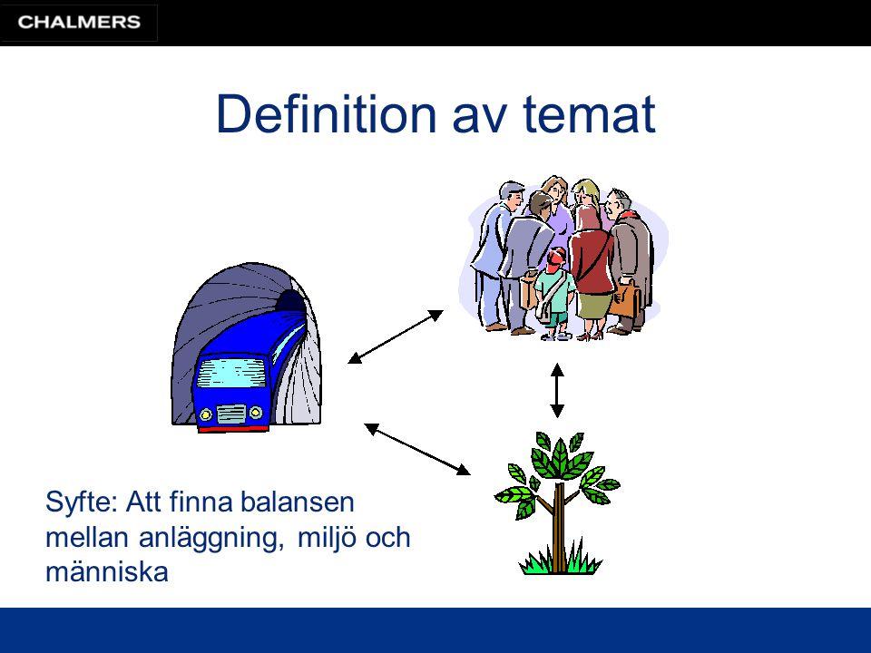 Definitioner Anläggningar: i första hand väg och järnväg Omgivning: naturmiljö, kulturmiljö, människors hälsa, egendom, andra anläggningar (ex.
