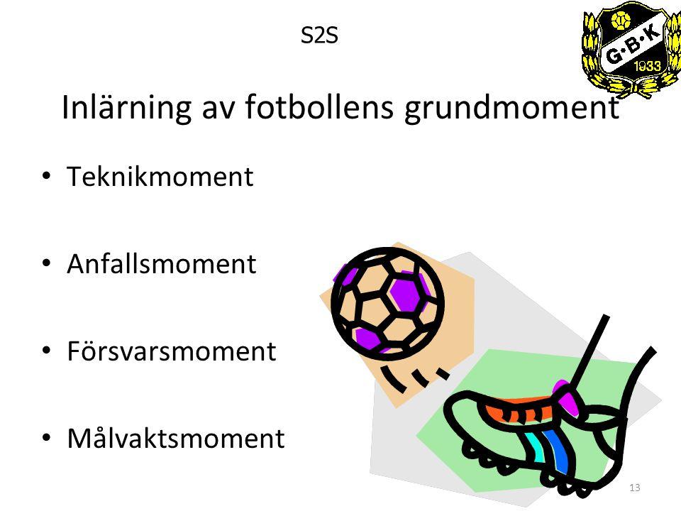 13 Inlärning av fotbollens grundmoment Teknikmoment Anfallsmoment Försvarsmoment Målvaktsmoment S2S