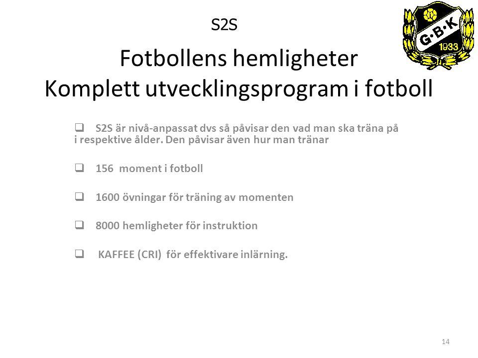 14 Fotbollens hemligheter Komplett utvecklingsprogram i fotboll  S2S är nivå-anpassat dvs så påvisar den vad man ska träna på i respektive ålder.