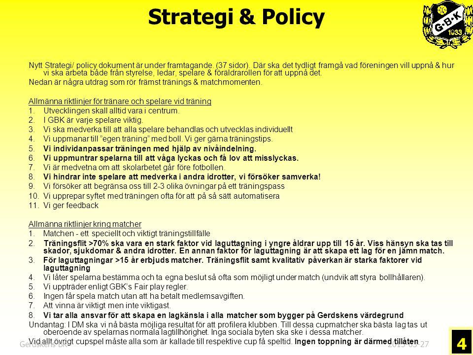 2015-03-27 4 Nytt Strategi/ policy dokument är under framtagande.