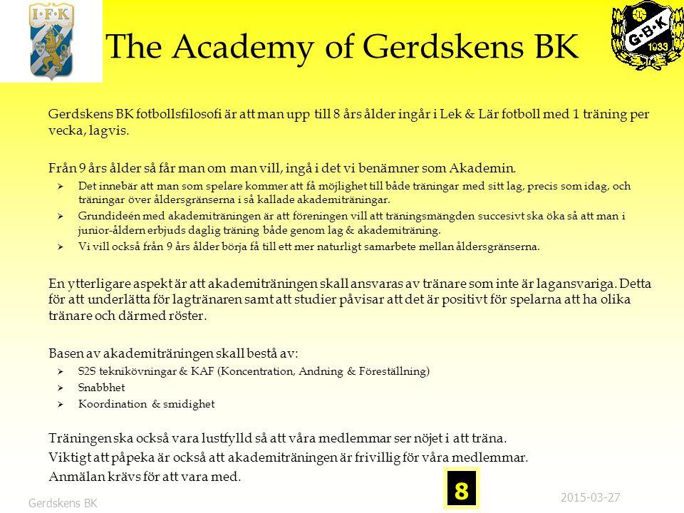 Gerdskens BK Gerdskens BK Bättre anläggning = Förutsättning för att jobba med ungdomars utveckling