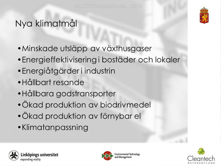 11 MILJÖTEKNIKMINGEL 2013 Nya klimatmål Minskade utsläpp av växthusgaser Energieffektivisering i bostäder och lokaler Energiåtgärder i industrin Hållbart resande Hållbara godstransporter Ökad produktion av biodrivmedel Ökad produktion av förnybar el Klimatanpassning