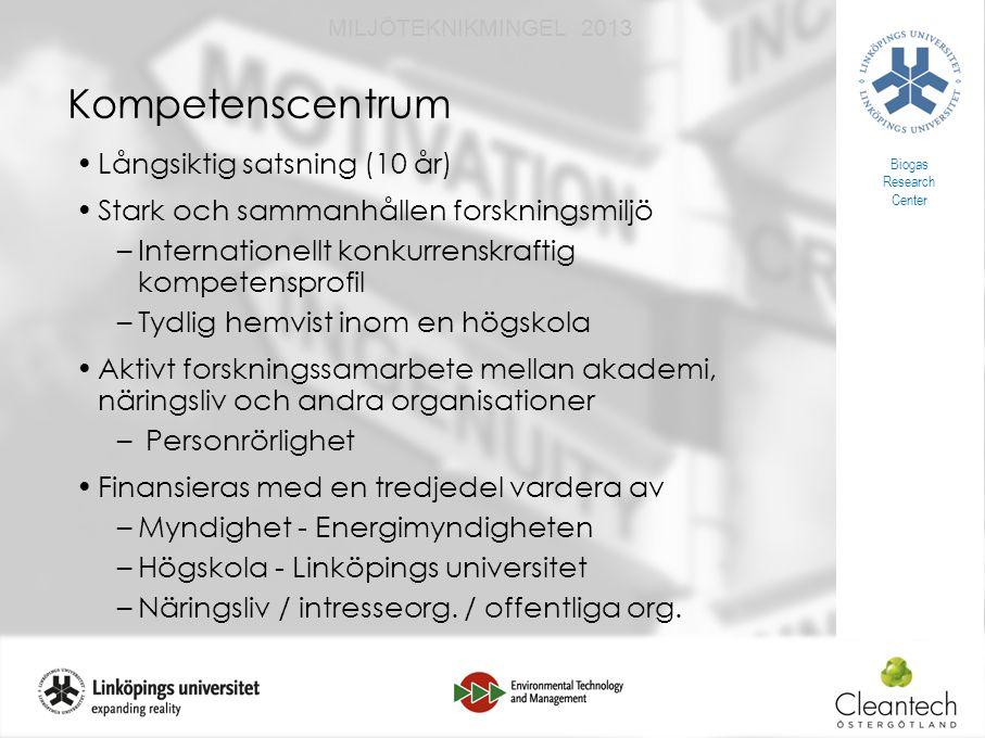 18 MILJÖTEKNIKMINGEL 2013 Kompetenscentrum Långsiktig satsning (10 år) Stark och sammanhållen forskningsmiljö –Internationellt konkurrenskraftig kompetensprofil –Tydlig hemvist inom en högskola Aktivt forskningssamarbete mellan akademi, näringsliv och andra organisationer – Personrörlighet Finansieras med en tredjedel vardera av –Myndighet - Energimyndigheten –Högskola - Linköpings universitet –Näringsliv / intresseorg.