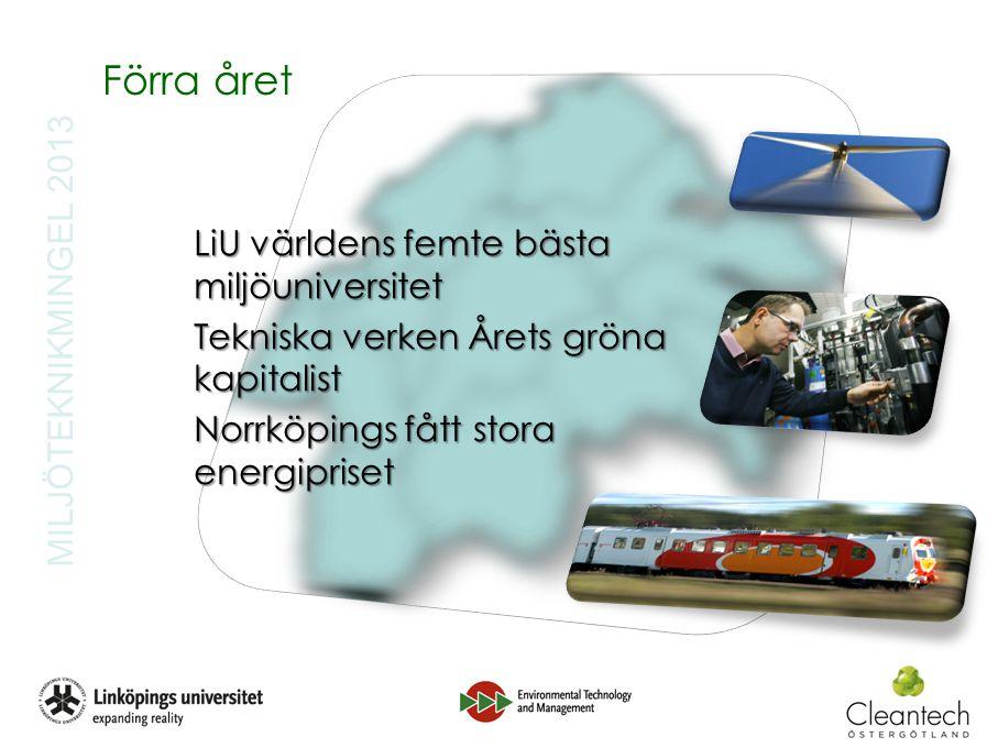 MILJÖTEKNIKMINGEL 2013 Förra året LiU världens femte bästa miljöuniversitet Tekniska verken Årets gröna kapitalist Norrköpings fått stora energipriset